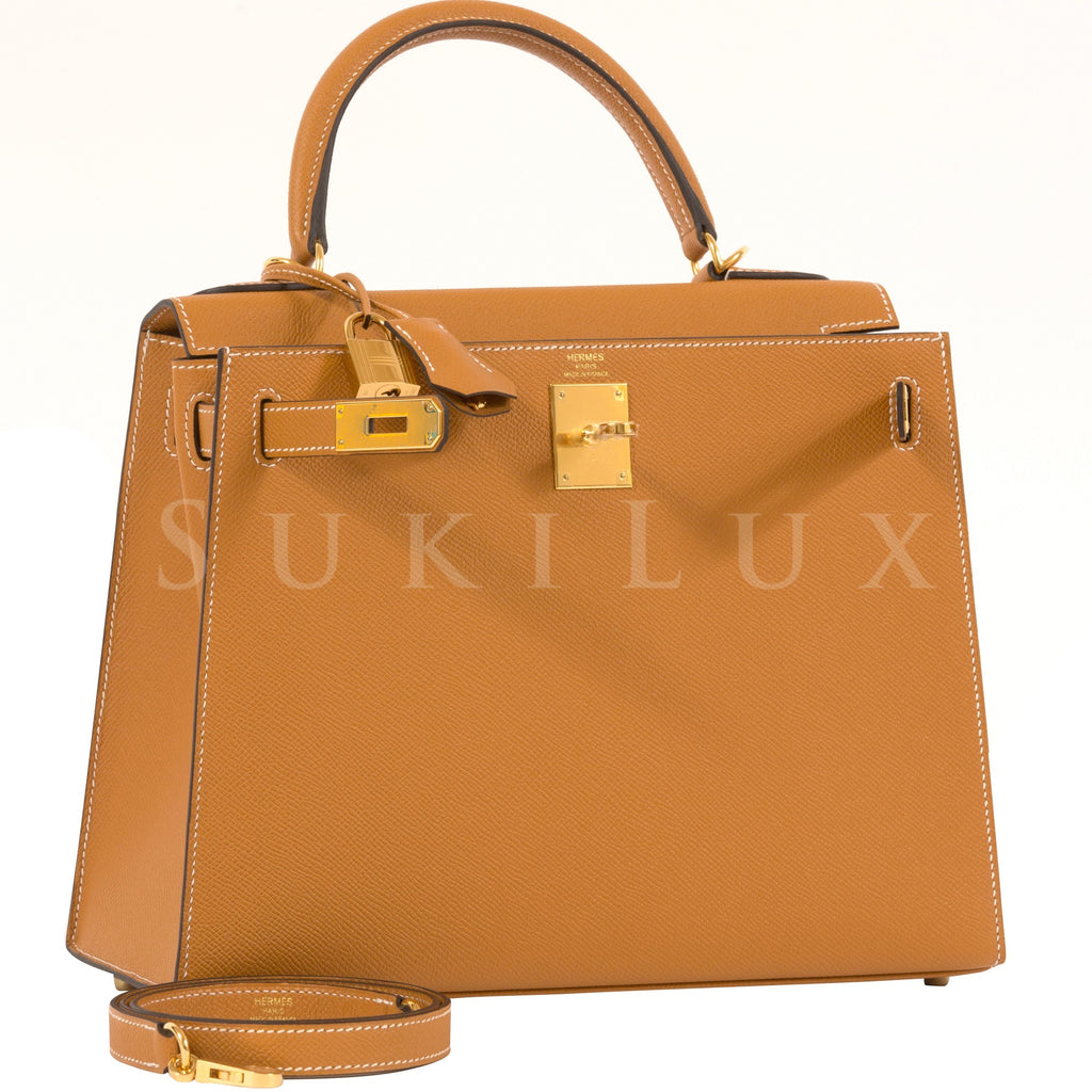 Hermès Kelly 28cm Sellier Veau Epsom 1H Toffee Gold Hardware