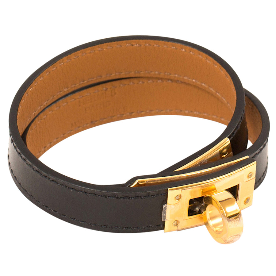 Hermès Kelly Double Tour Leather Bracelet Black Gold Hardware