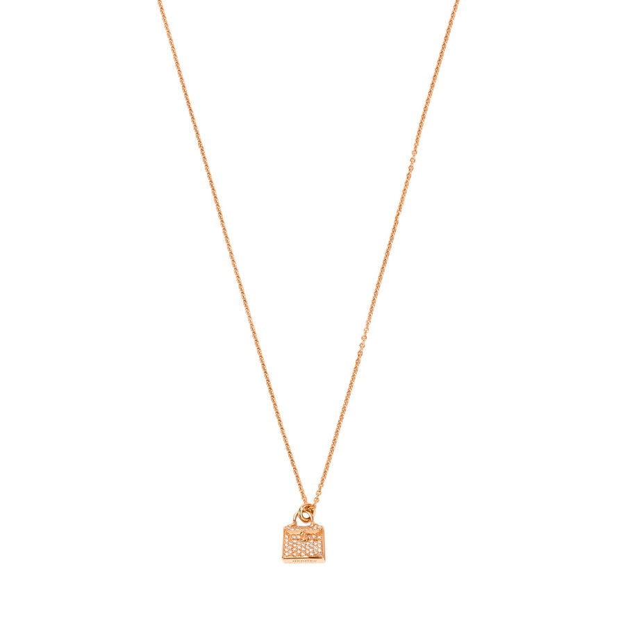 Hermès Kelly Rose Gold Pendant Necklace with Diamonds
