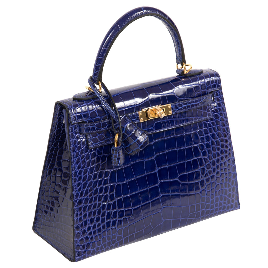 Hermès Kelly 25cm Sellier 7T Bleu Electric Alligator Mississippiensis Lisse Gold Hardware