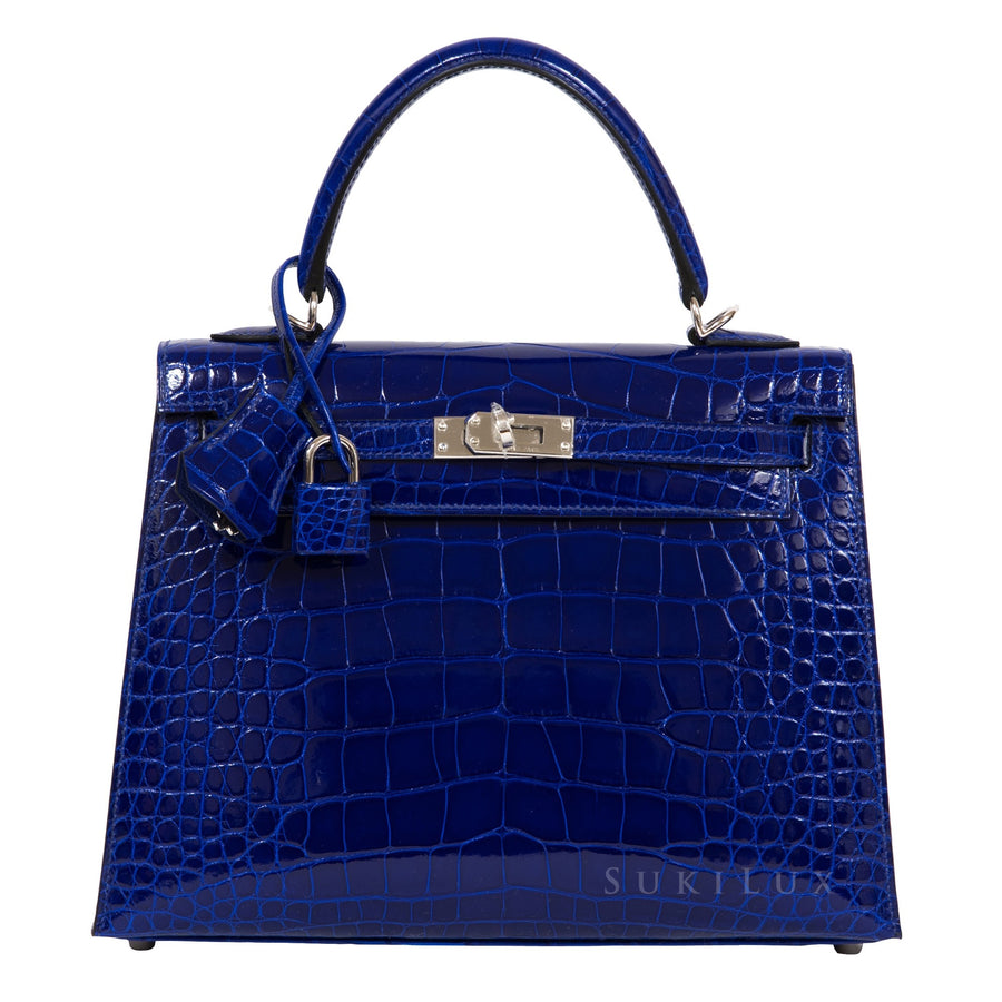 Hermès Kelly 25cm Sellier Crocodile Alligator Mississippiensis Lisse 7T Bleu Electric Palldium Hardware