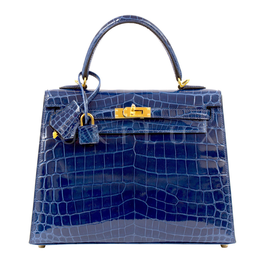 Hermès Kelly 25cm Sellier Crocodile Shiny Nilo 73 Bleu Saphir Gold Hardware
