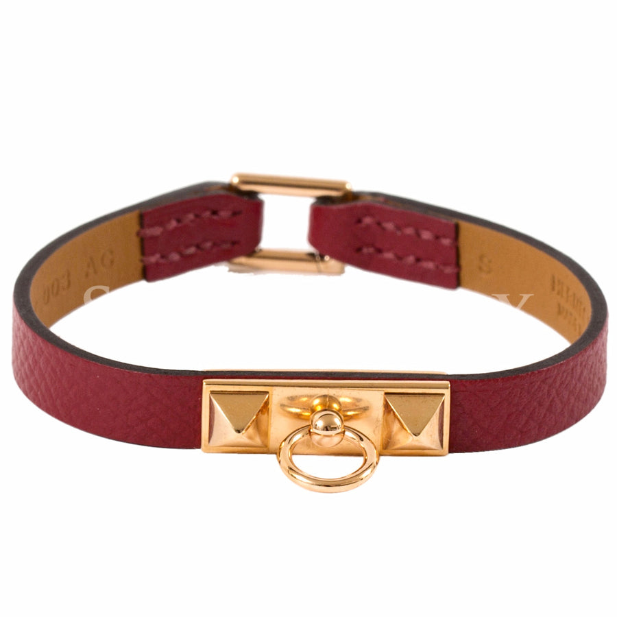 Hermès Micro Rivale Leather Bracelet Chamonix Calfskin Red Gold Hardware