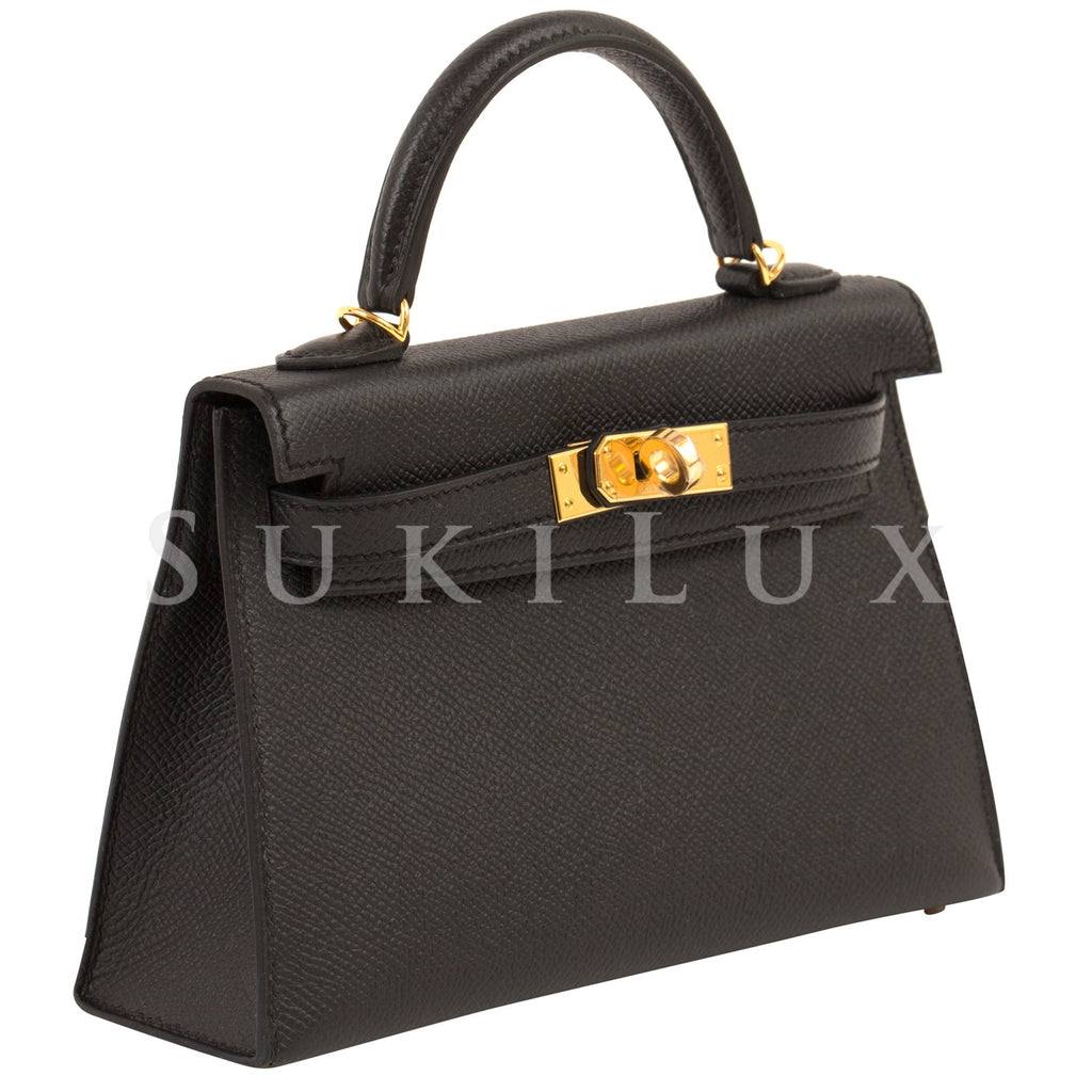 Hermès MiniKelly II Noir 89 Epsom Leather Gold Hardware