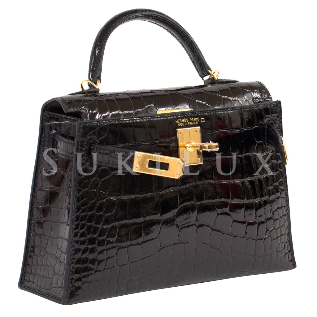 Hermès MiniKelly II Crocodile Shiny Alligator Noir 89 Gold Hardware