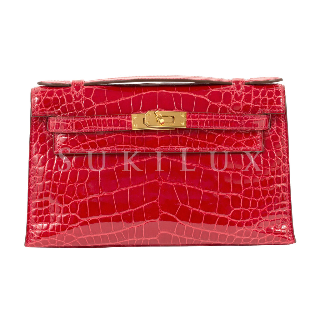 Hermès MiniKelly Pochette Braise 95 Alligator Gold Hardware