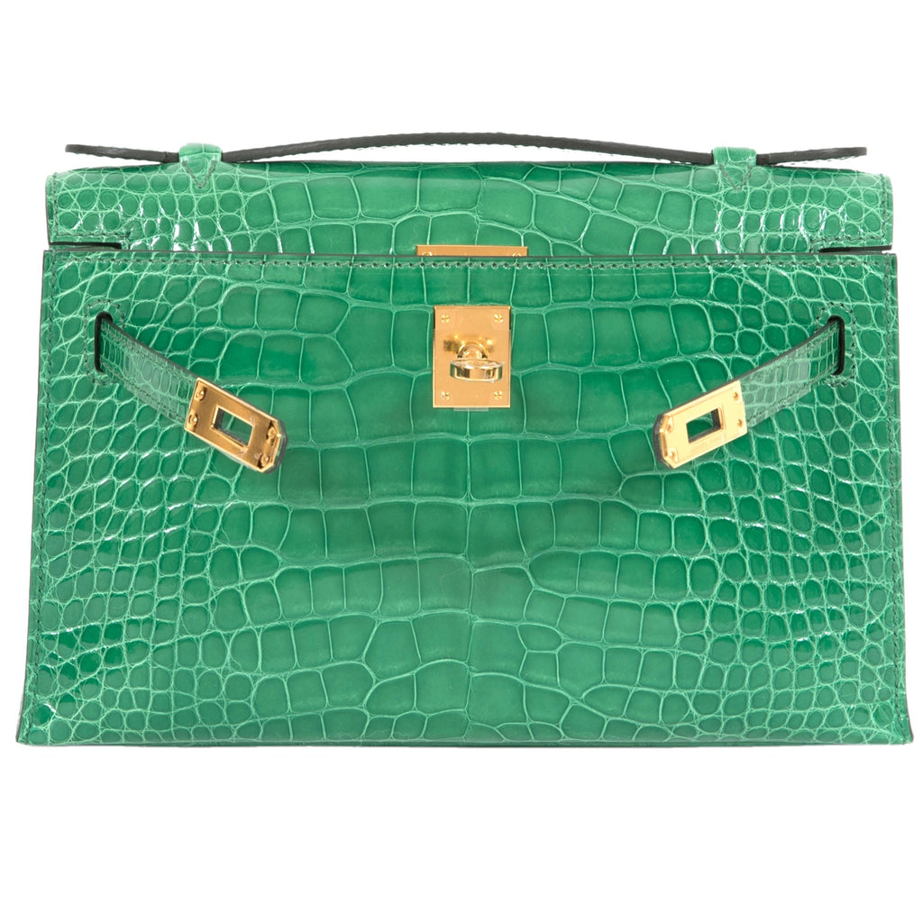 Hermès MiniKelly Pochette Crocodile Shiny Alligator Cactus Gold Hardware