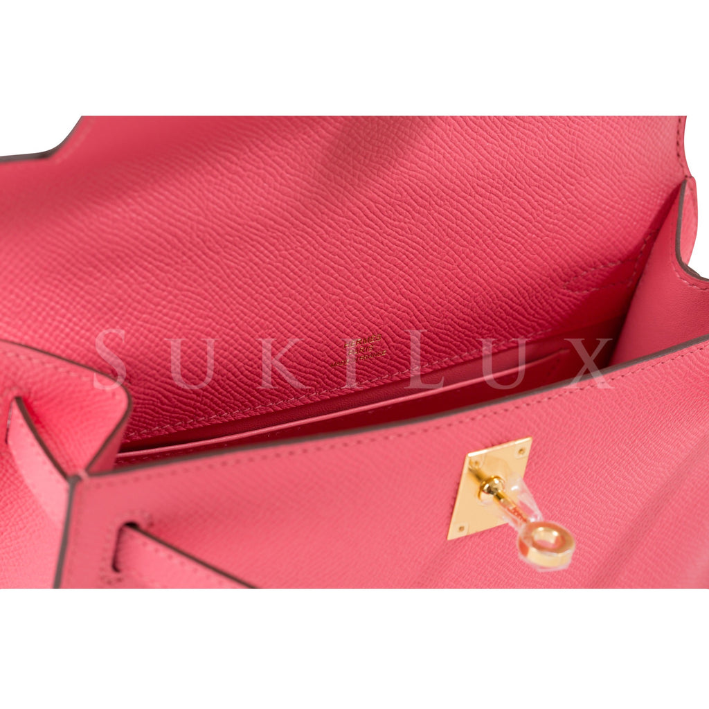 Hermès MiniKelly Pochette Rose Azalee 8W Epsom Leather Gold Hardware