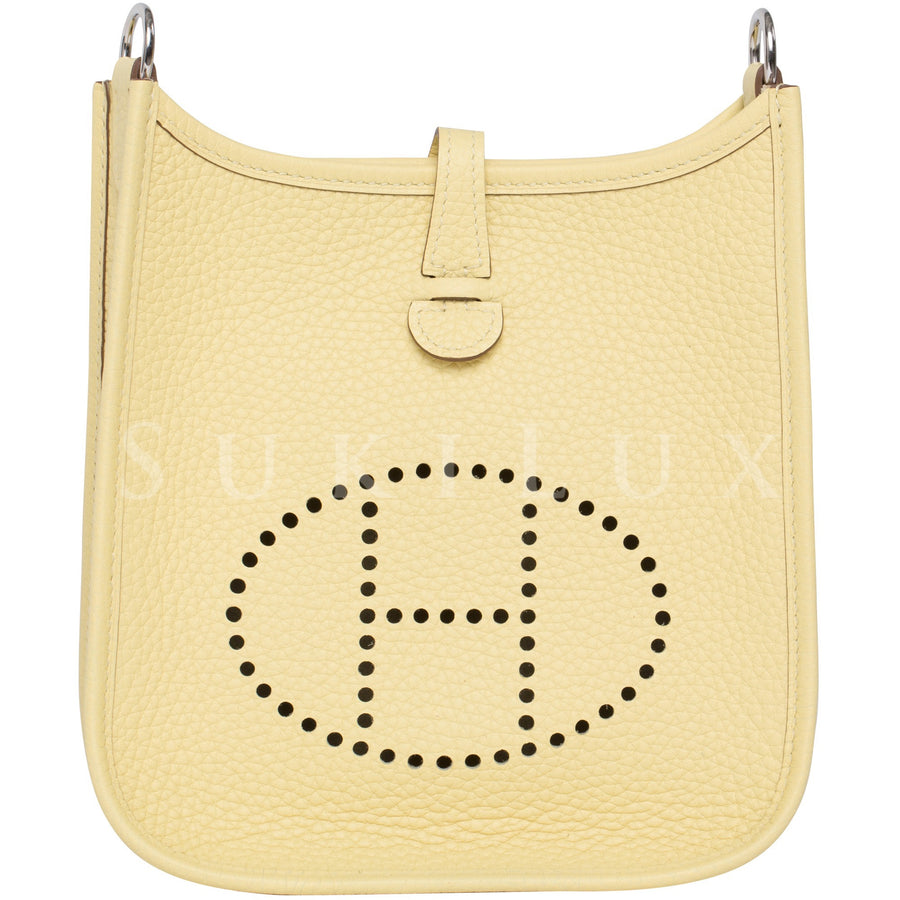 Hermès Mini Evelyne Jaune Poussin 1Z Clemence Leather Palladium Hardware