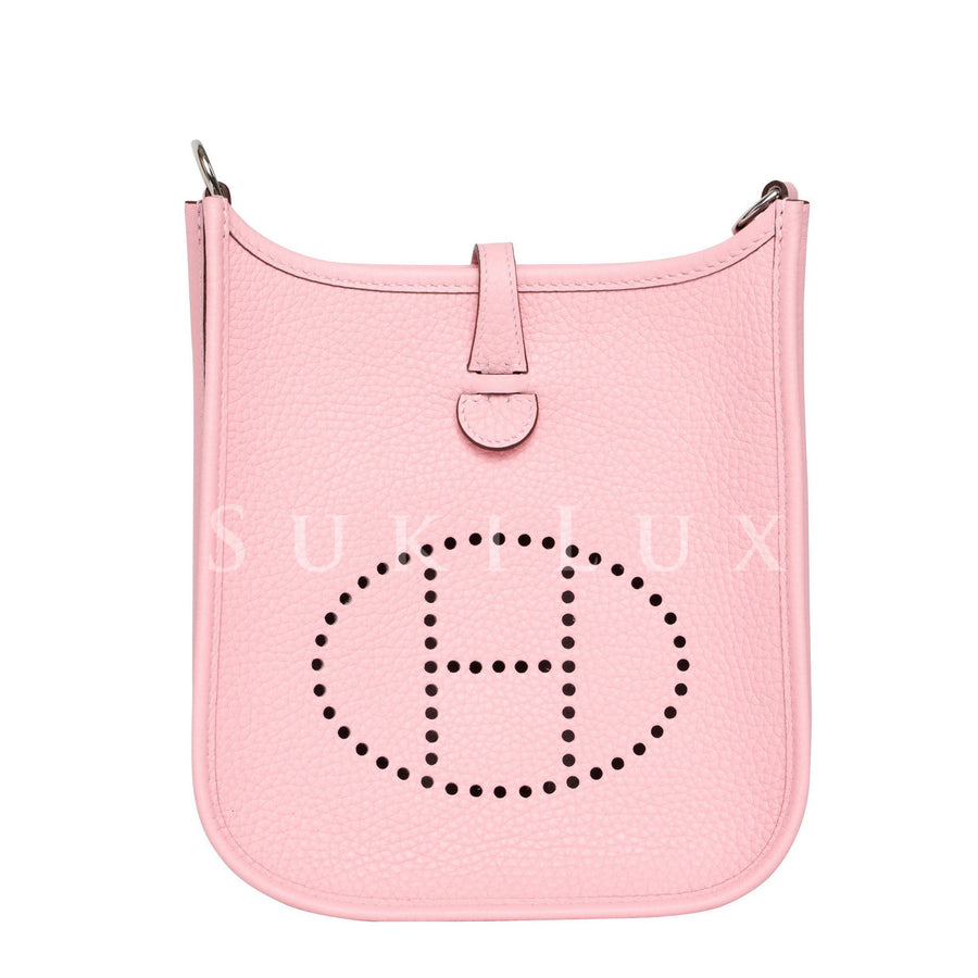 Hermès Mini Evelyne Rose sakura 3Q Clemence Leather palladium hardware