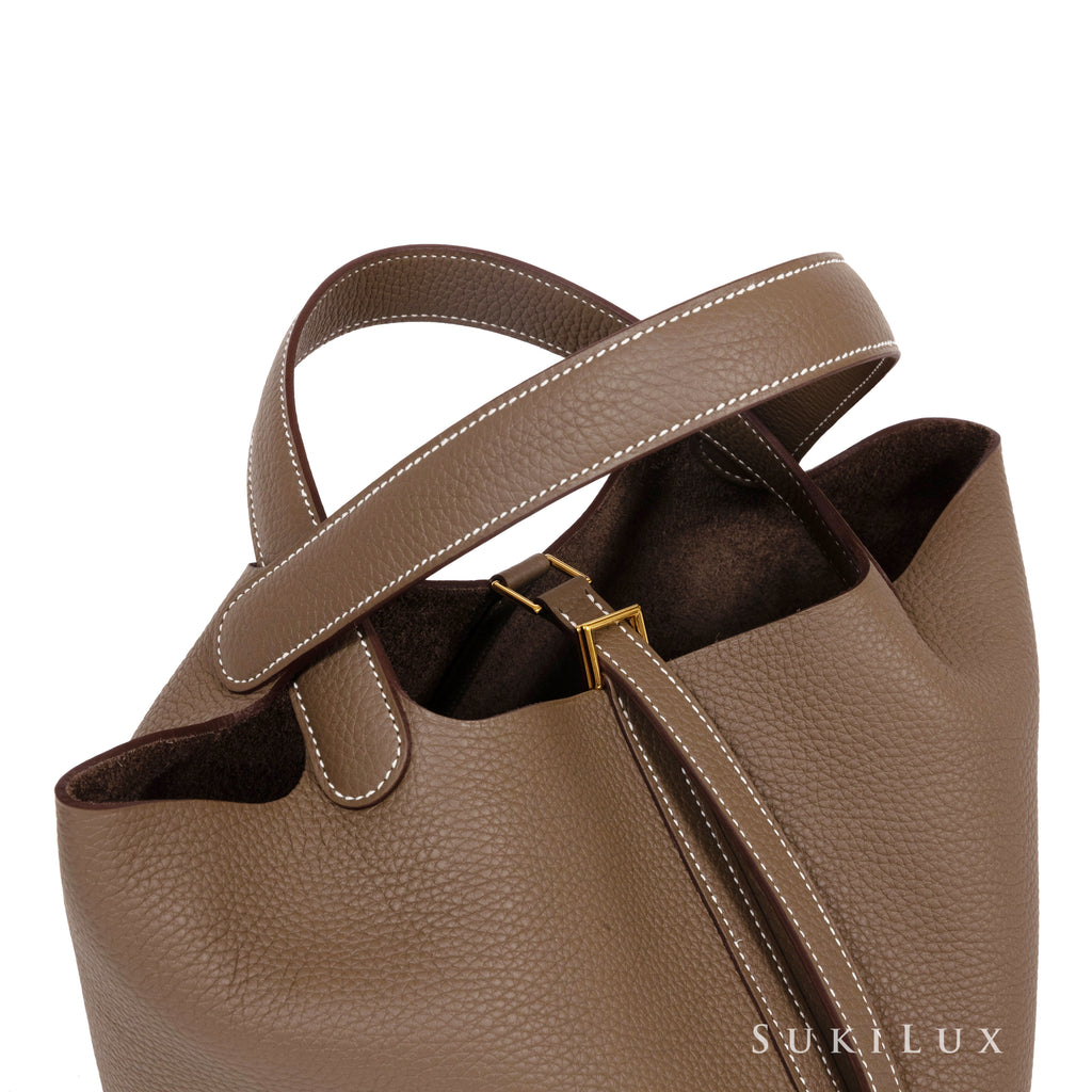 Hermès Picotin Lock Etoupe 22cm Clemence Leather Gold Hardware