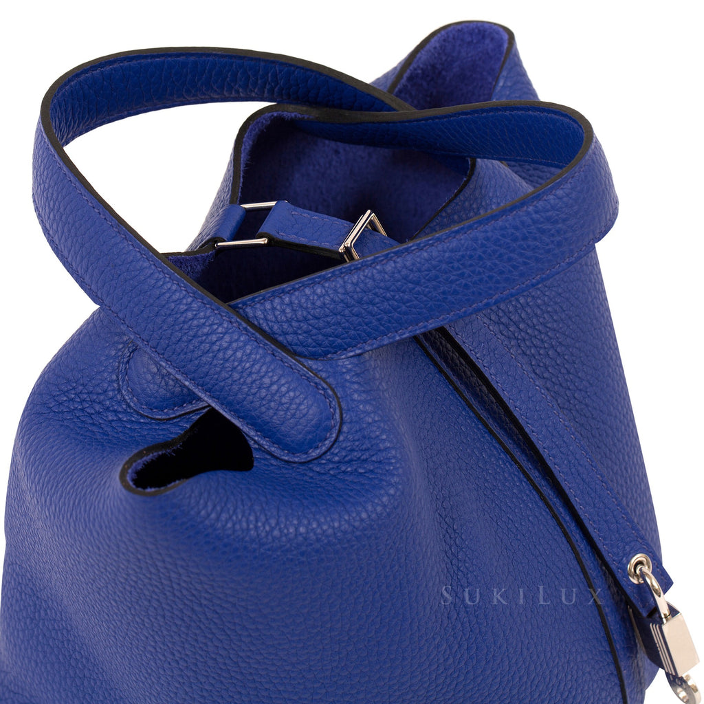 Hermès Picotin Lock Bleu Electric Clemence Leather Palladium Hardware