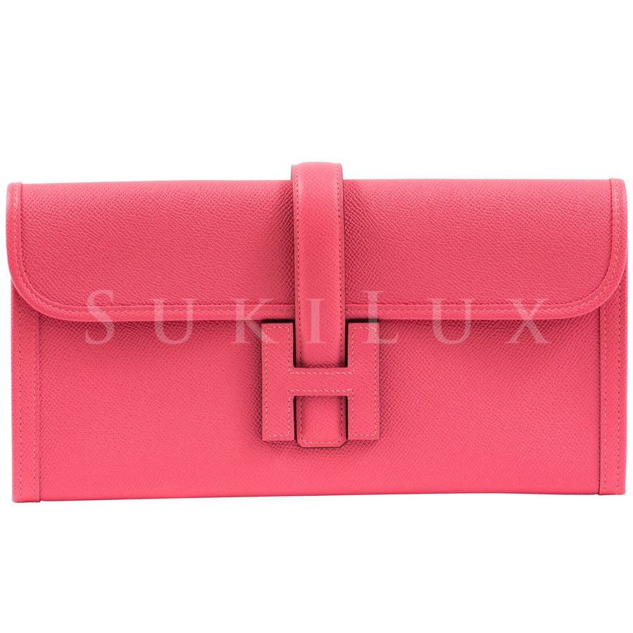Hermès Pochette Jige 29cm Rose Azalee 8W Epsom Leather Clutch