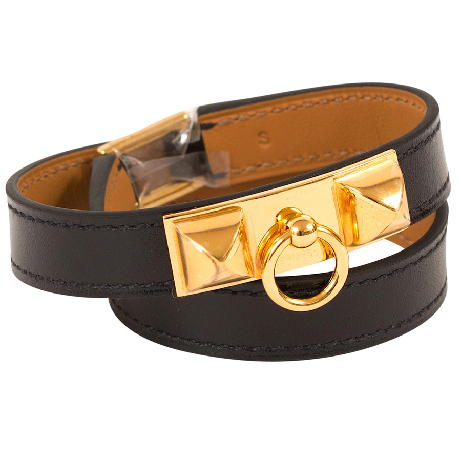 Hermès Rivale Double Tour Leather Bracelet Black Gold Hardware