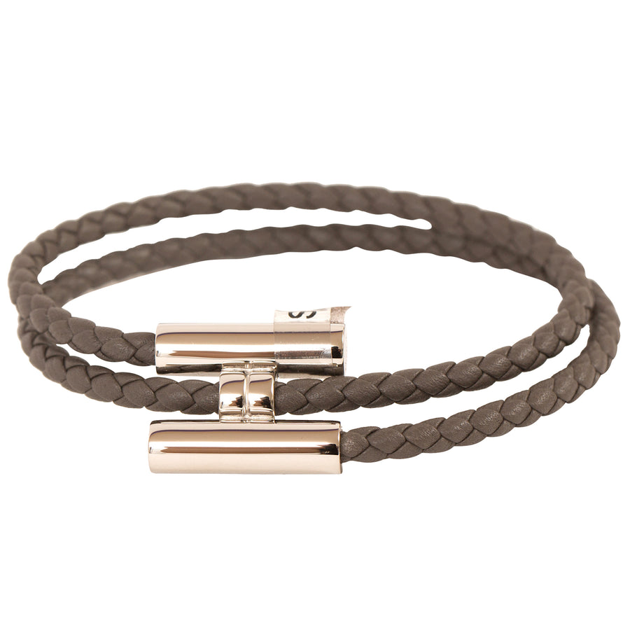 Hermès Tournis Tressé Swift Leather Bracelet Dark Green