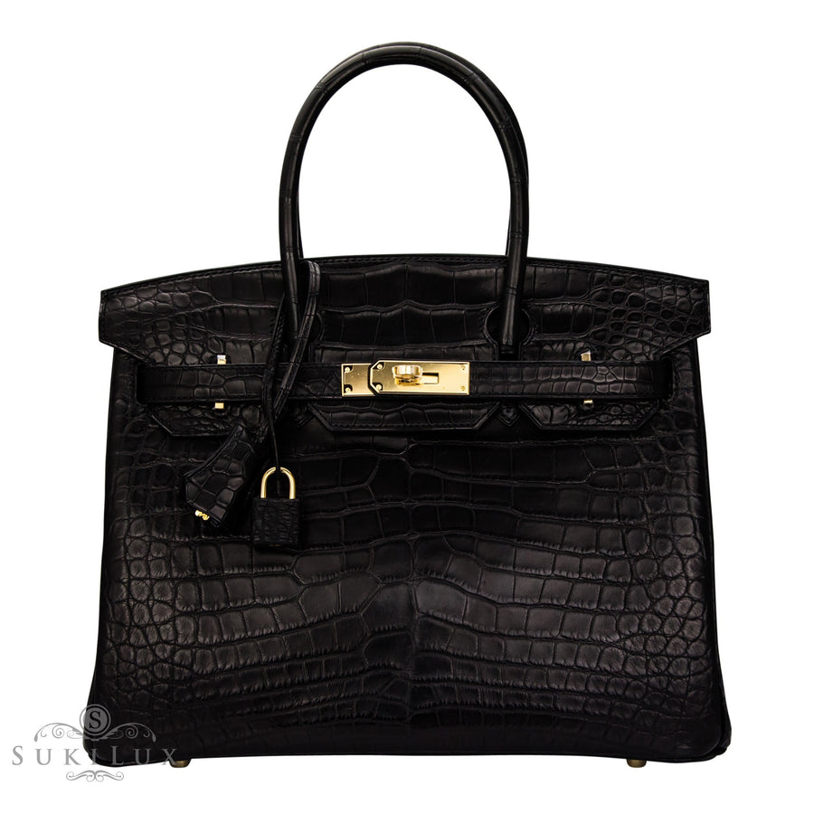 Hermès Birkin 30cm Crocodile Matte Alligator 89 Noir Gold Hardware