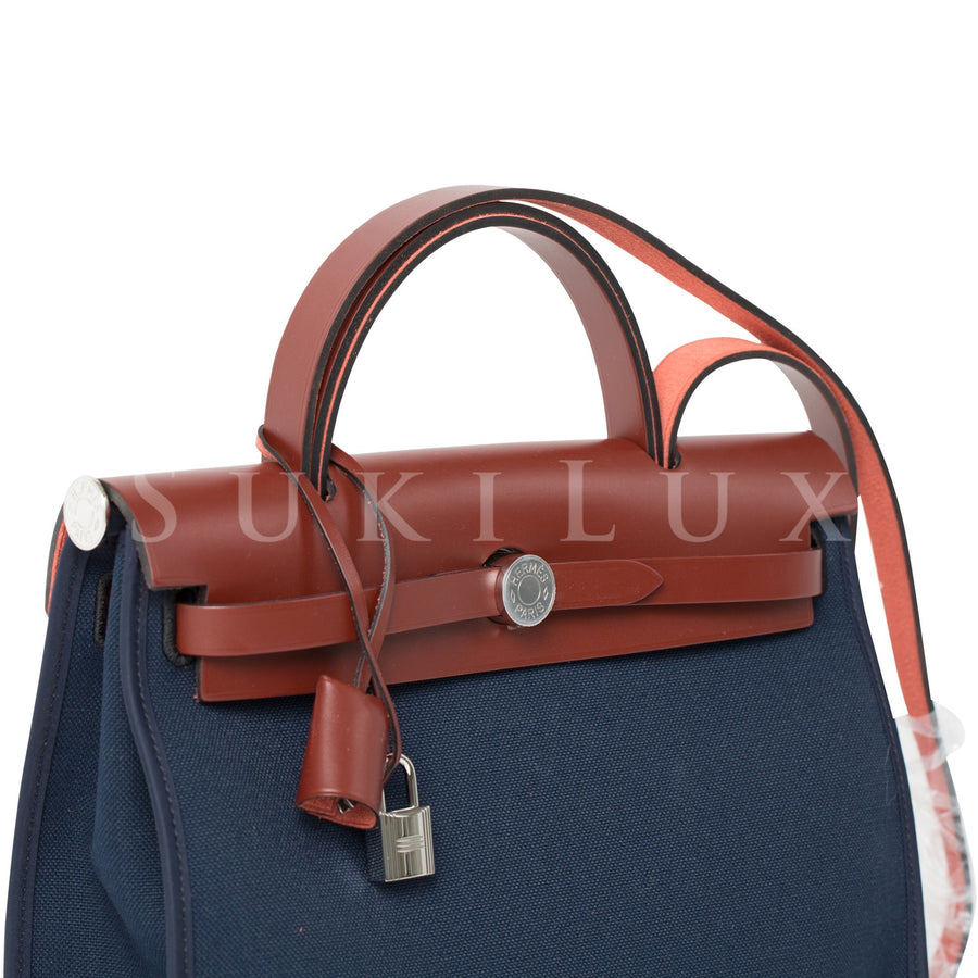 Hermès Herbag 31cm PM Bleu With Canvas