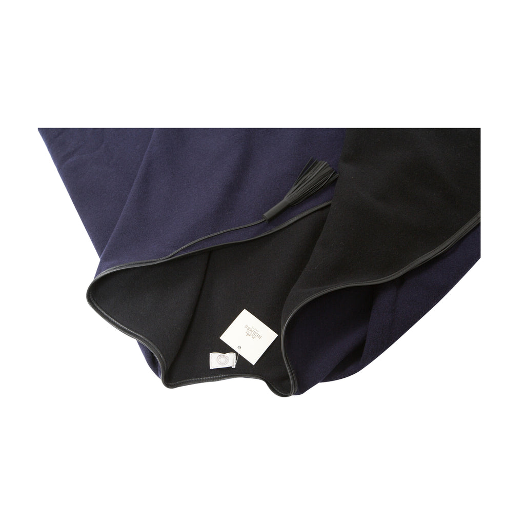 Hermès Cashmere Wool Alamo Poncho Cape Dark Blue/ Black