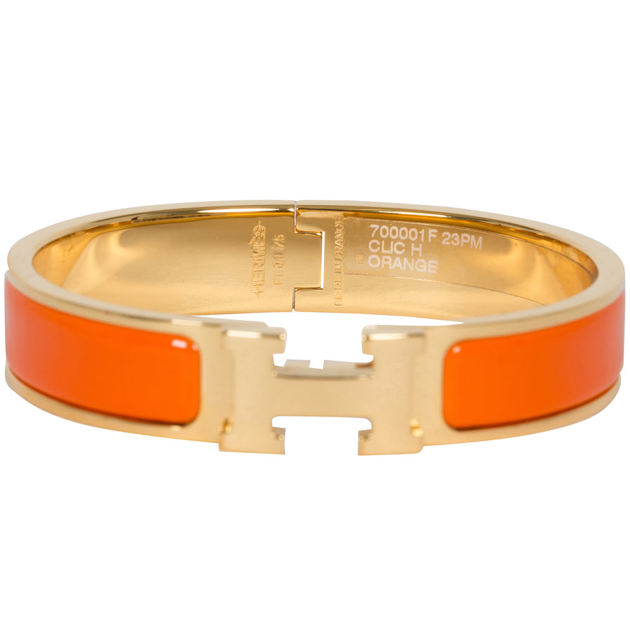 Hermès Clic Clac H Narrow Enamel Bracelet Orange Gold Hardware