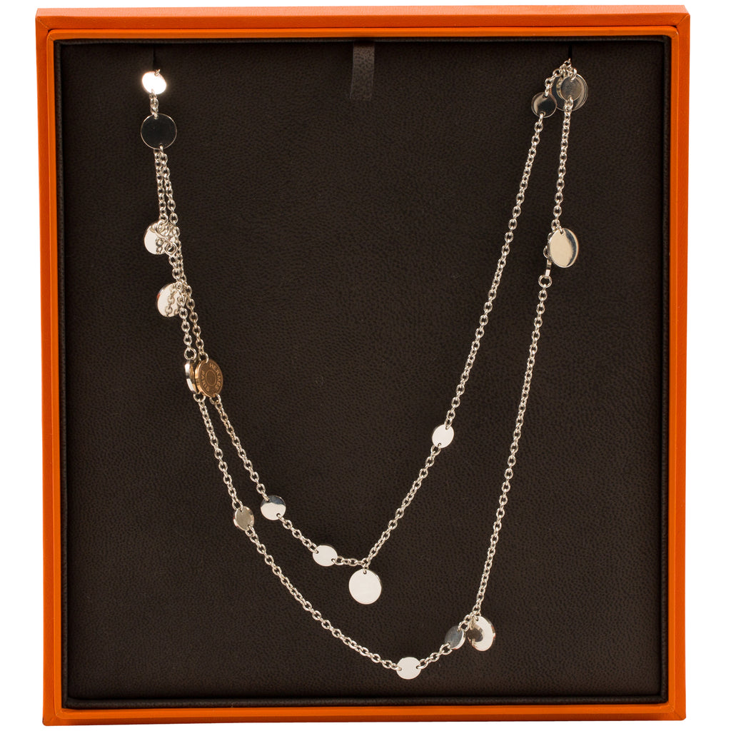 Hermès Silver and Rose Gold Confettis Long Necklace – SukiLux 4bbafd6f07a