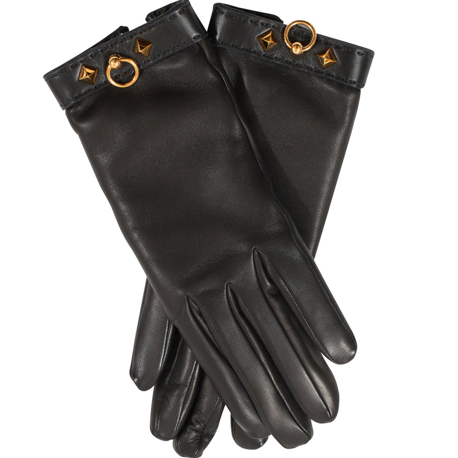 Hermès Louise Women's Gloves Lambskin Noir Gold Hardware