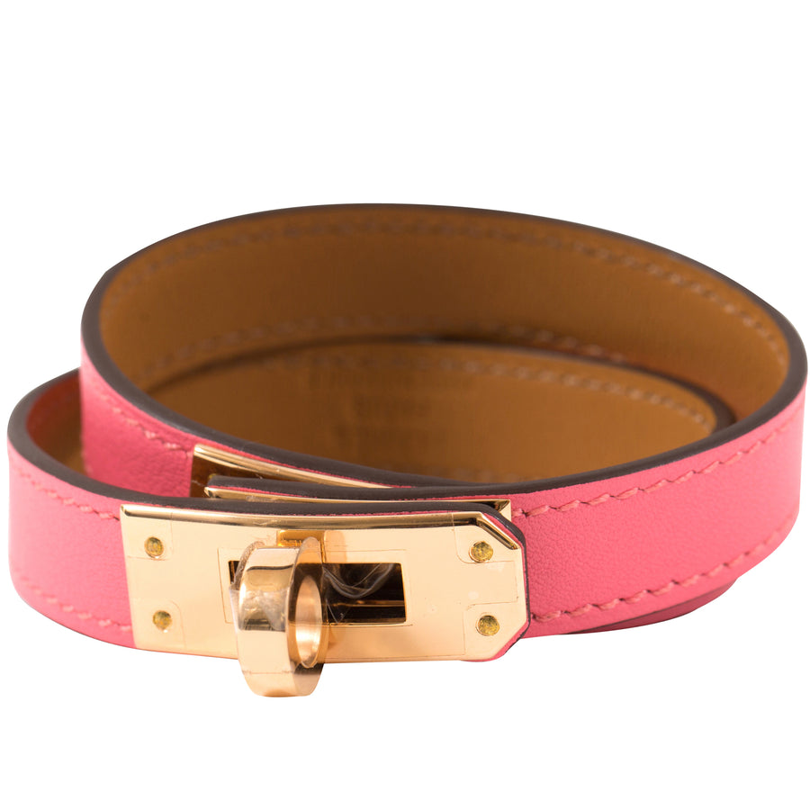 Hermès Kelly Double Tour Leather Bracelet Rose Lipstick U5 Gold Hardware
