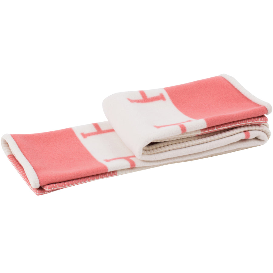 Hermès New Classic Avalon Baby Blanket Rose Airelle/ Blanc
