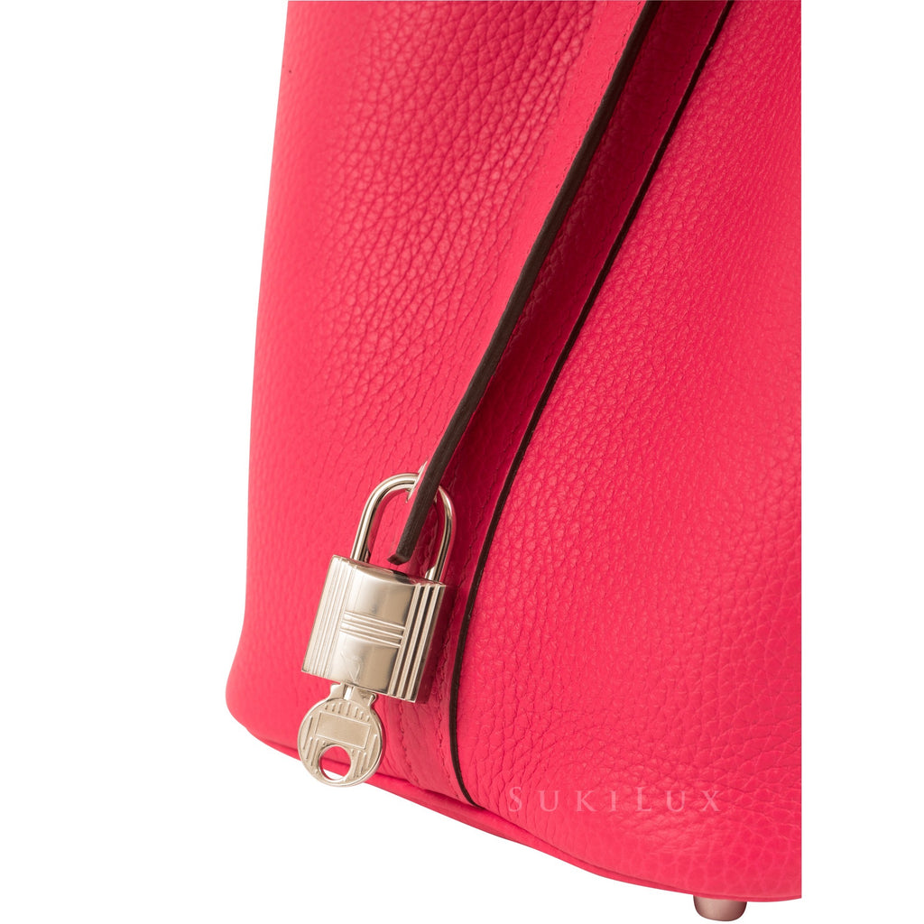 Hermès Picotin Lock Rose Extreme I6 Clemence Leather Palladium Hardware