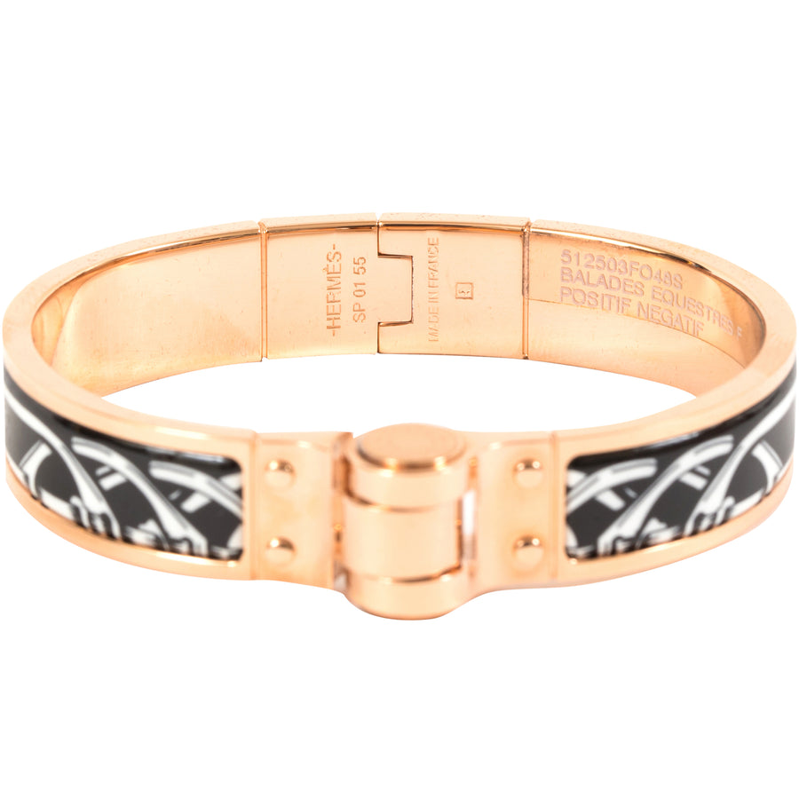 HERMÈS HINGED ENAMEL BRACELET NARROW BALADES EQUESTRES ROSE GOLD PLATED