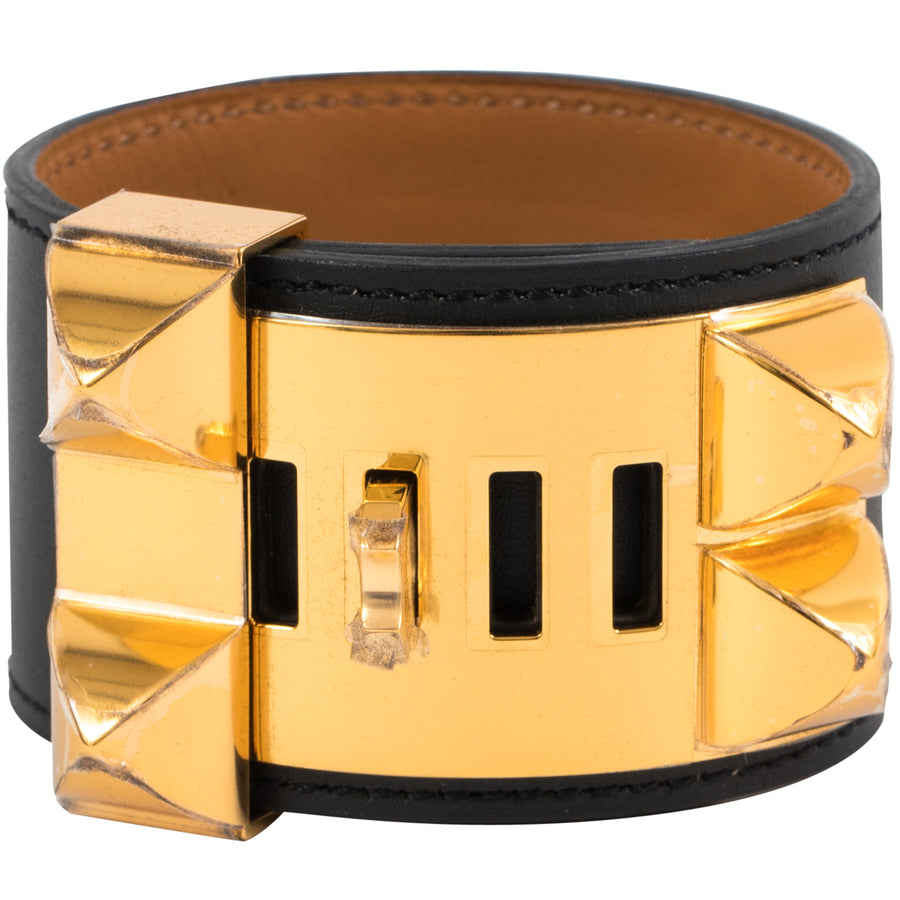 Hermès Collier De Chien CDC Bracelet Noir Box Gold Hardware