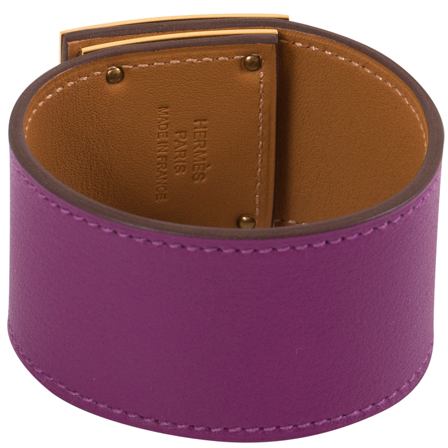 Hermès Kelly Dog Bracelet Anemone P9 Swift Leather Gold Hardware