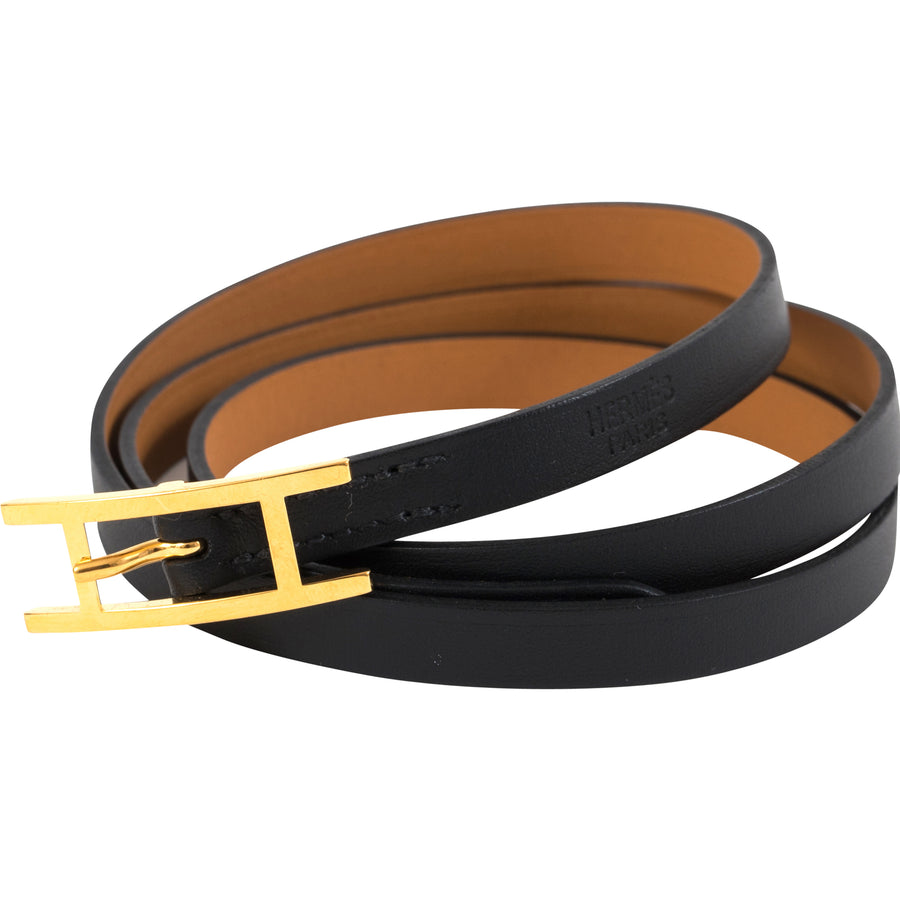 Hermès Behapi Triple Tour Bracelet Veau Box Noir Gold Hardware