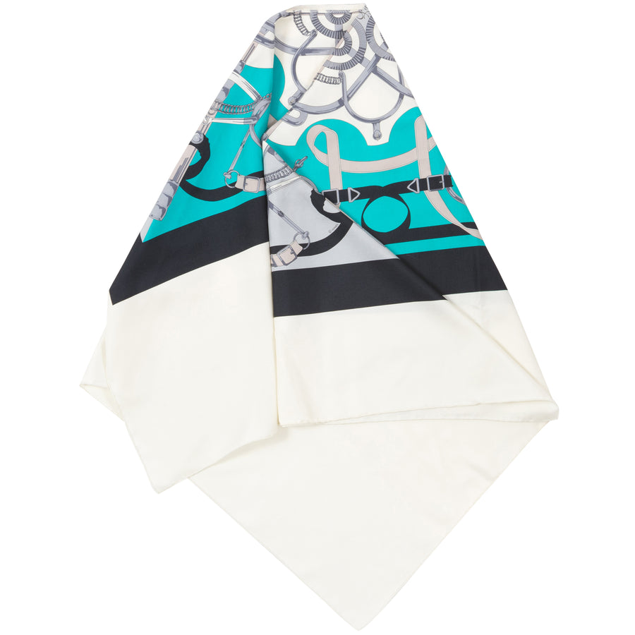 Hermes Shantung Twill Poncho Cape Turquoise/ Bleu