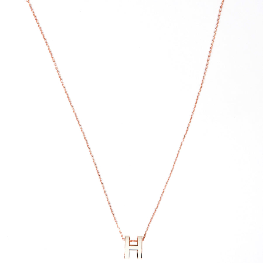 HERMÈS POP H NECKLACE White RoseGOLD PLATED WITH SOFT CHAIN