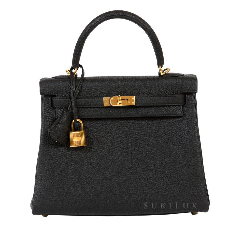 Hermès Kelly 25cm Retourne Noir 89 Togo Leather Gold Hardware