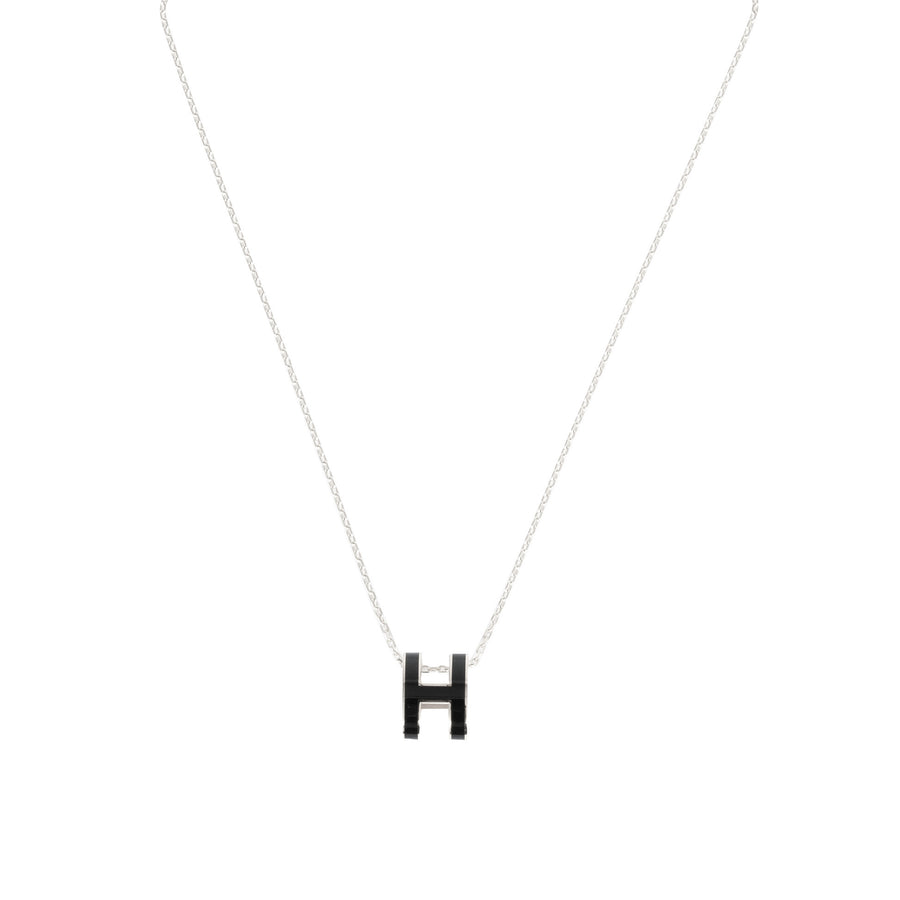 Hermès Pop H Necklace Black Palladium Plated with Soft Chain
