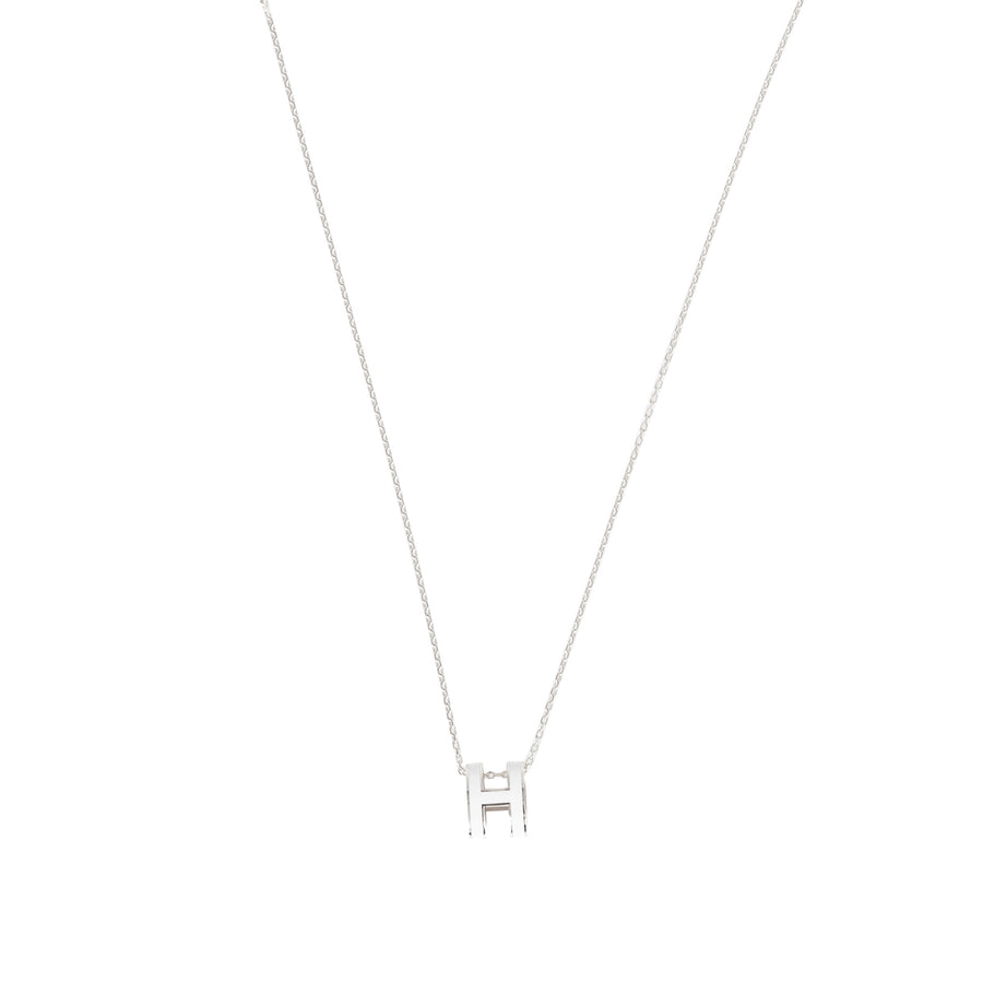 Hermès Pop H Necklace White Palladium Plated with Soft Chain