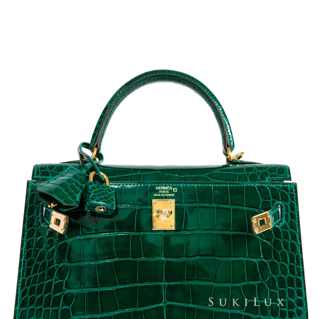 Hermès Kelly 25cm Sellier Crocodile Alligator 6Q Vert Emeraud Gold Hardware