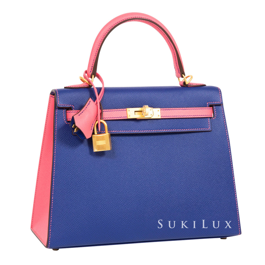 Hermès Kelly 25cm Sellier Veau Epsom 7T Bleu Electric/8W Rose Azalee Bi-color Gold Hardware
