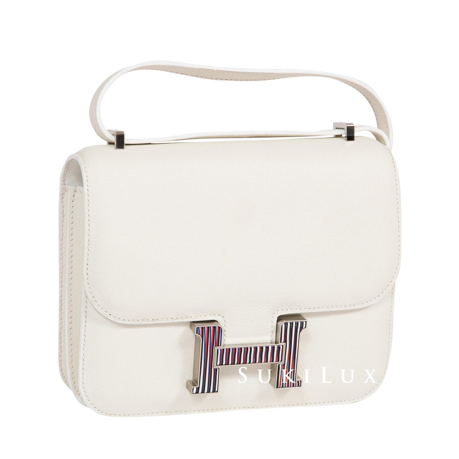 Hermès Constance III Mini 18cm Evercolor White Blue Multi Color Palladium Hardware