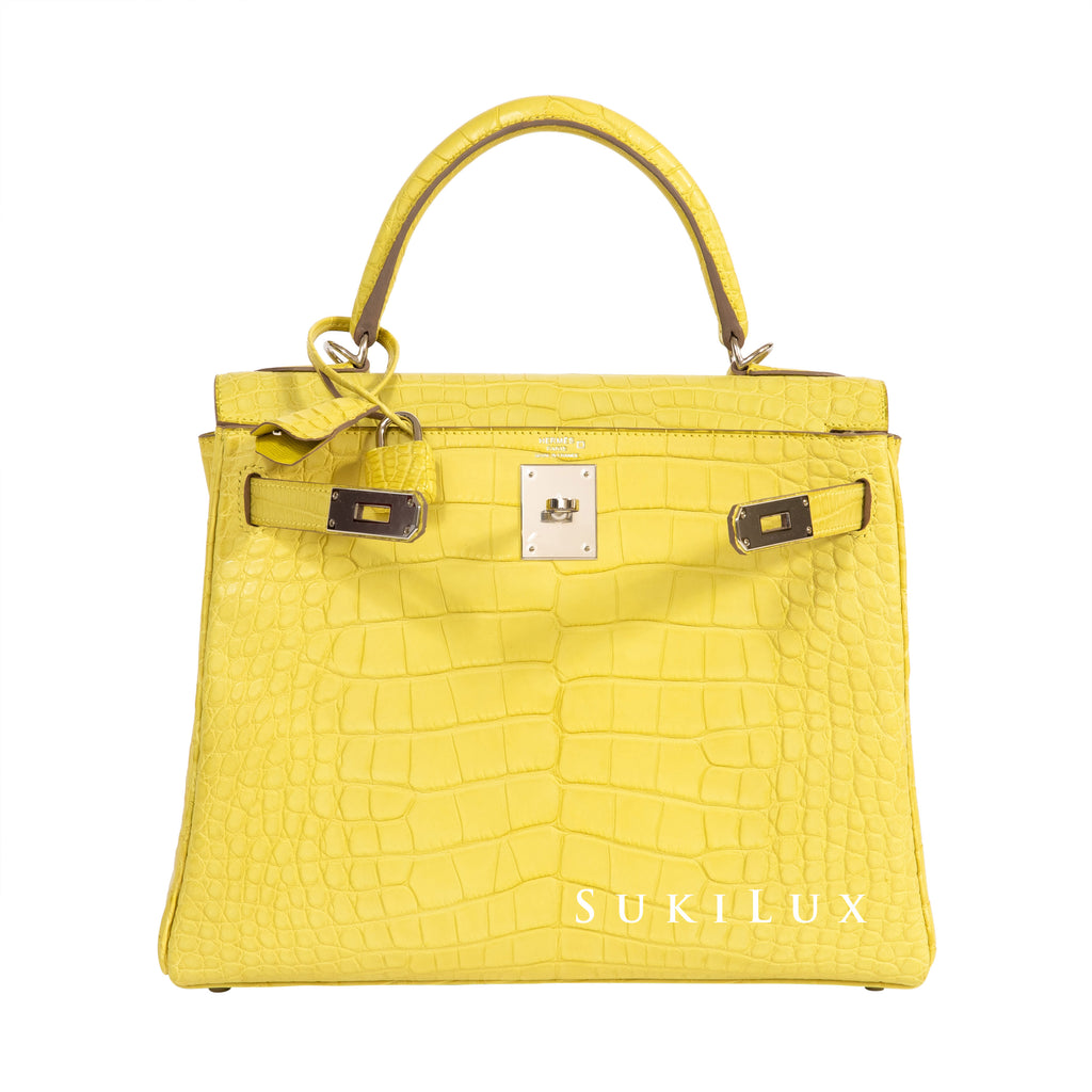 Hermès Kelly 28cm Retourne Crocodile Matte Alligator 9R Lime Palladium Hardware