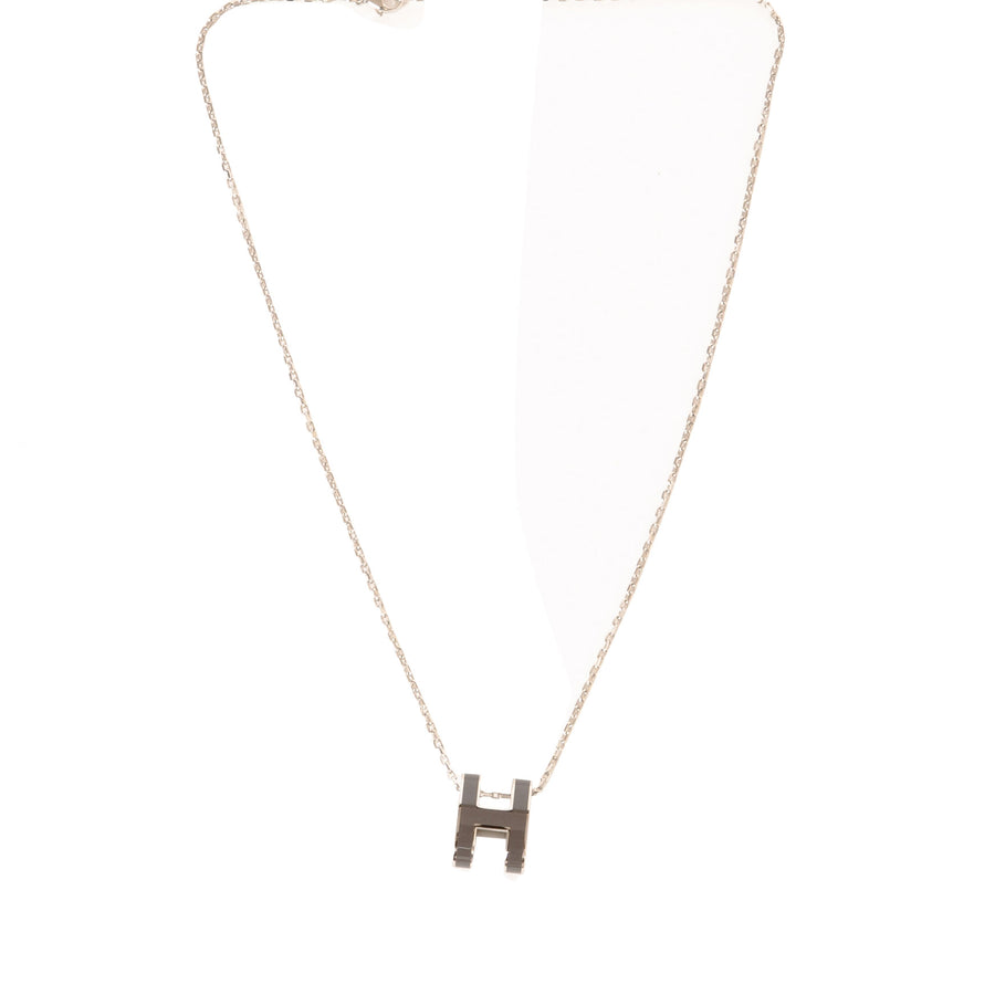 Hermès Pop H Necklace grey Palladium Plated with Soft Chain