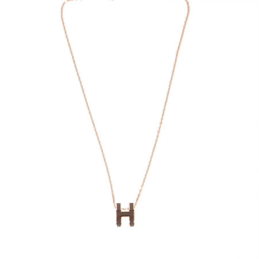 Hermès Pop H Necklace grey Rose Gold Plated with Soft Chain