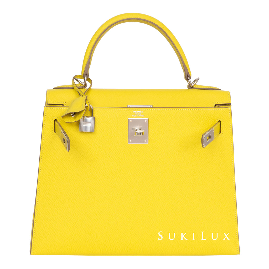 HERMÈS KELLY 28CM SELLIER VEAU EPSOM 9R LIME PALLADIUM HARDWARE
