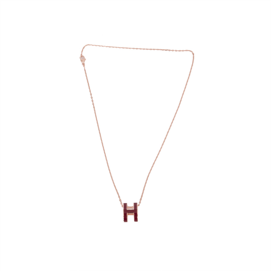 HERMÈS POP H NECKLACE ROUGE ROSE GOLD PLATED WITH SOFT CHAIN