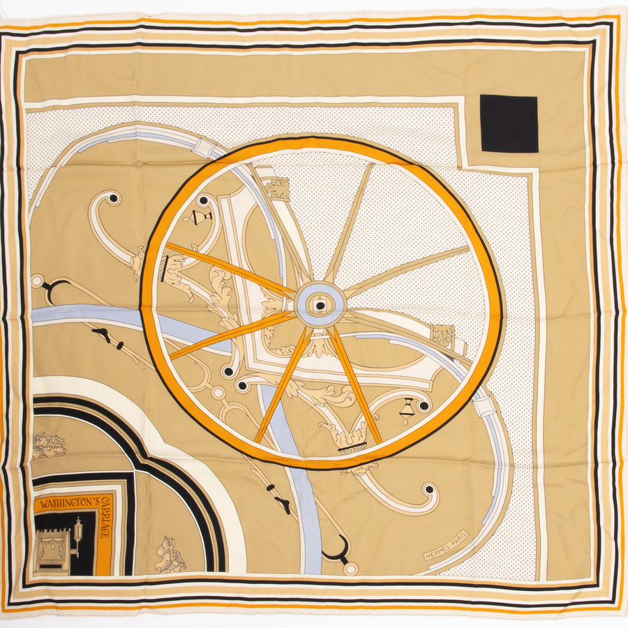 HERMÈS CARRE TWILL 90CM SILK SCARF CARRE TWILL WASHINGTON'S CARRIA BEIGE/ BLANC/ OCRE