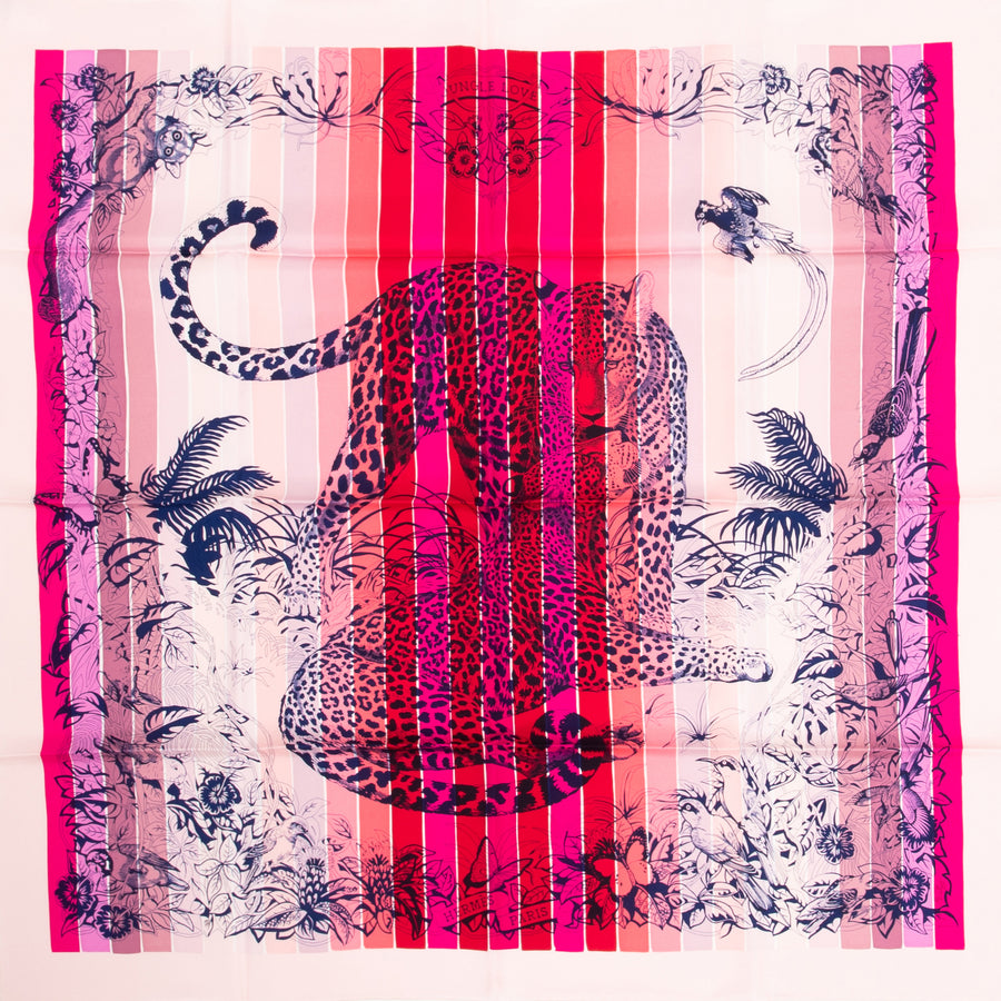 HERMÈS CARRE TWILL 90CM SILK SCARF CARRE TWILL JUNGLE LOVE RAINBOW RD. ROSE VIF/ ENCRE/ ROUGE