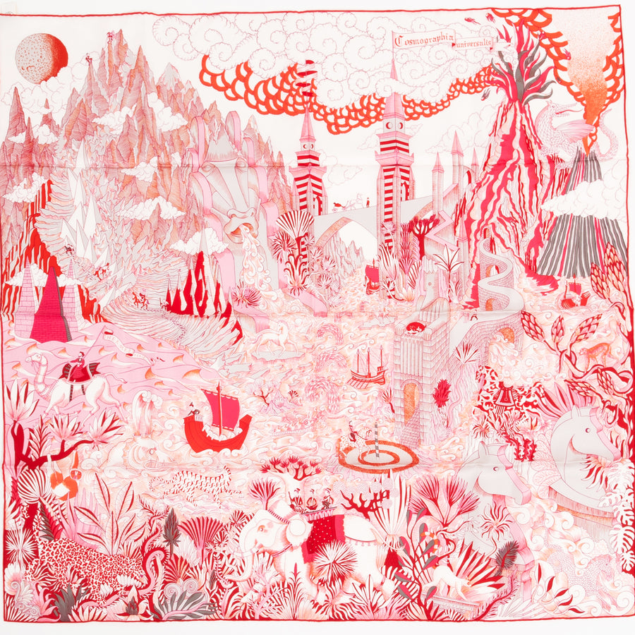 HERMÈS CARRE TWILL 90CM SILK SCARF CARRE TWILL COSMOGRAPHIA VR/ ROSE/ ROUGE/ BLANC