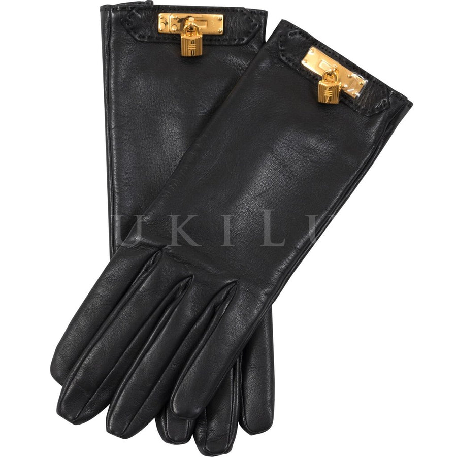 Hermès Soya Women's Gloves Lambskin Kelly GHW Noir