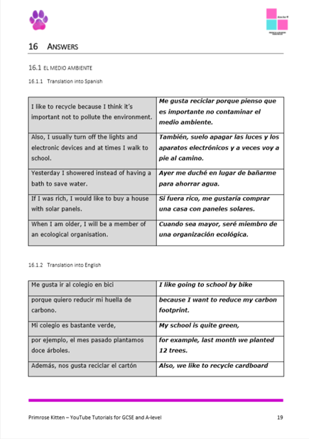 GCSE Spanish Translation Workbook